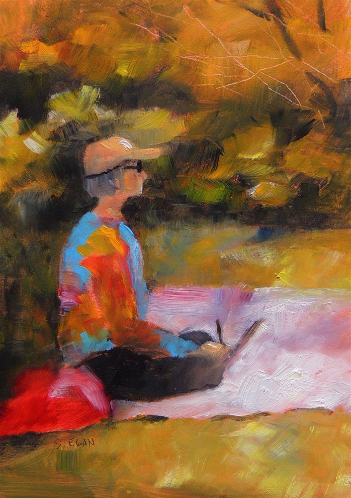 """""""Artist at Work"""" original fine art by Sharon Egan"""