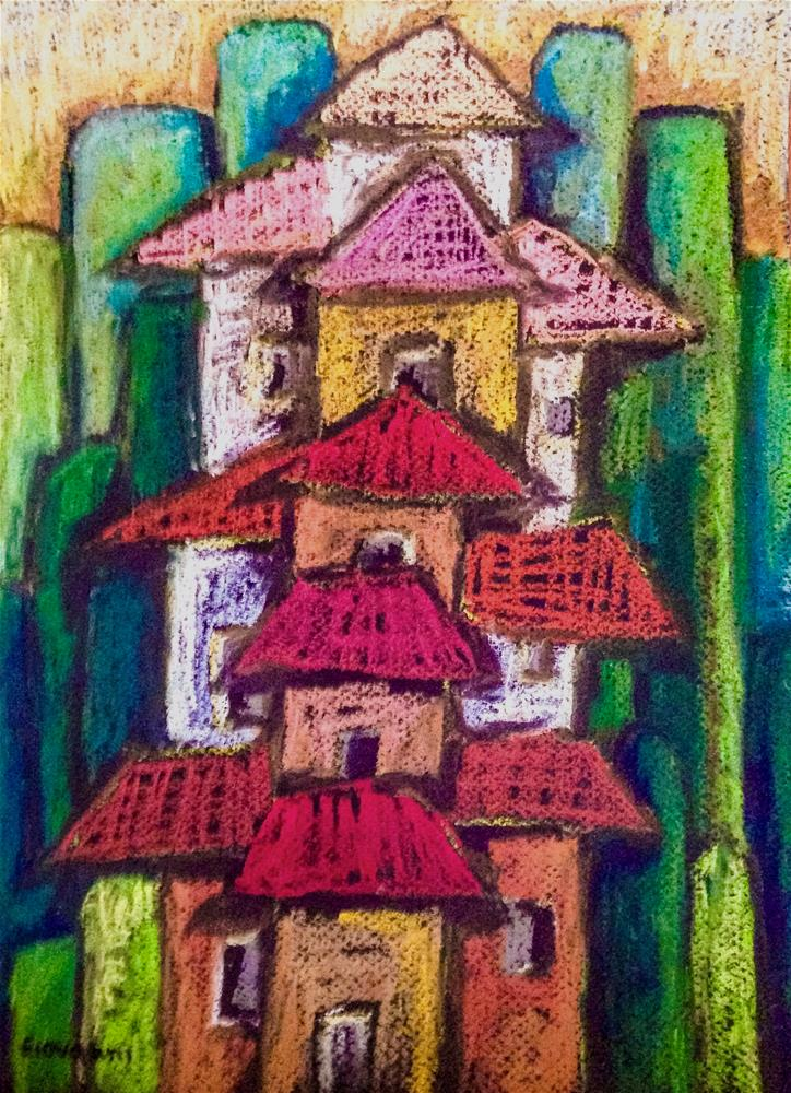 """""""Houses on the hill"""" original fine art by Giovanni Antunez"""