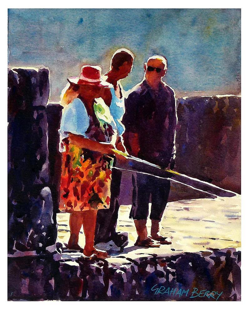 """Woman fishing."" original fine art by Graham Berry"