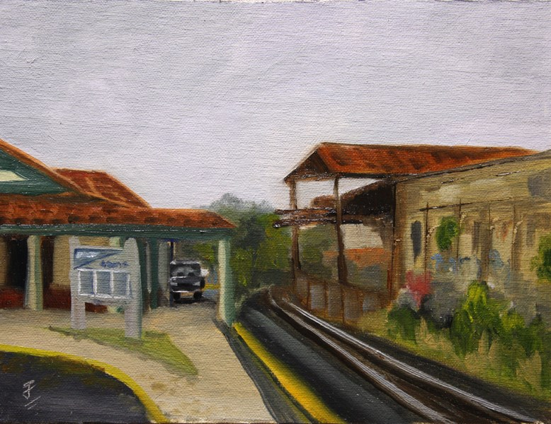 """Austin Amtrak Station"" original fine art by Jane Frederick"
