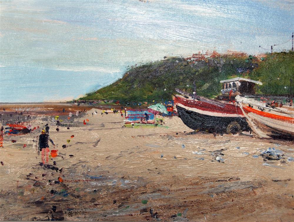 """Cromer Pier, The Beach on a grey day"" original fine art by Adebanji Alade"