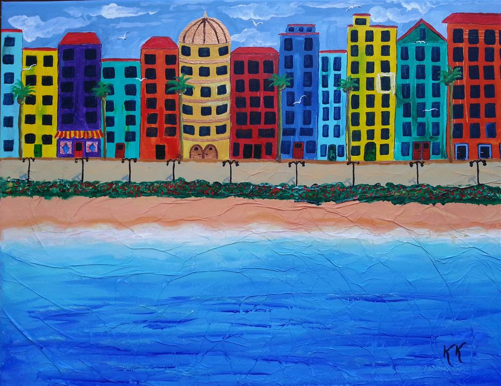 """Condos With a View, Contemporary cityscape"" original fine art by Karleen Kareem"