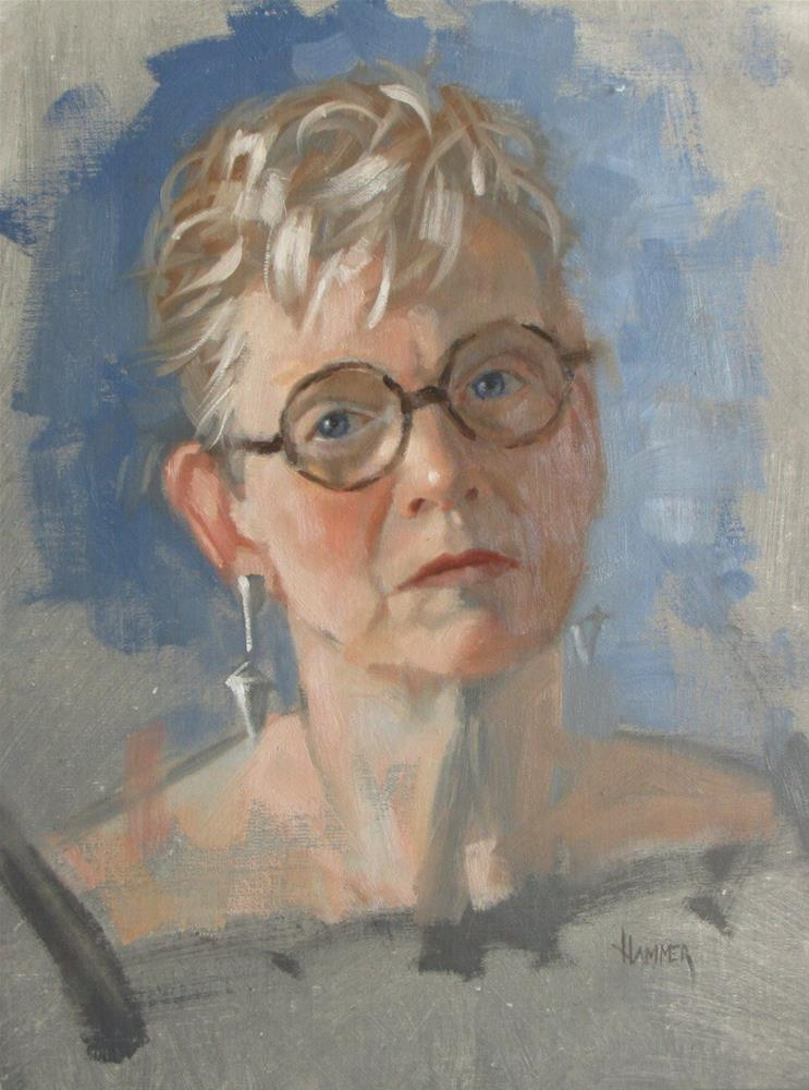 """Self portrait Demo #2  11 x 14  oil"" original fine art by Claudia Hammer"