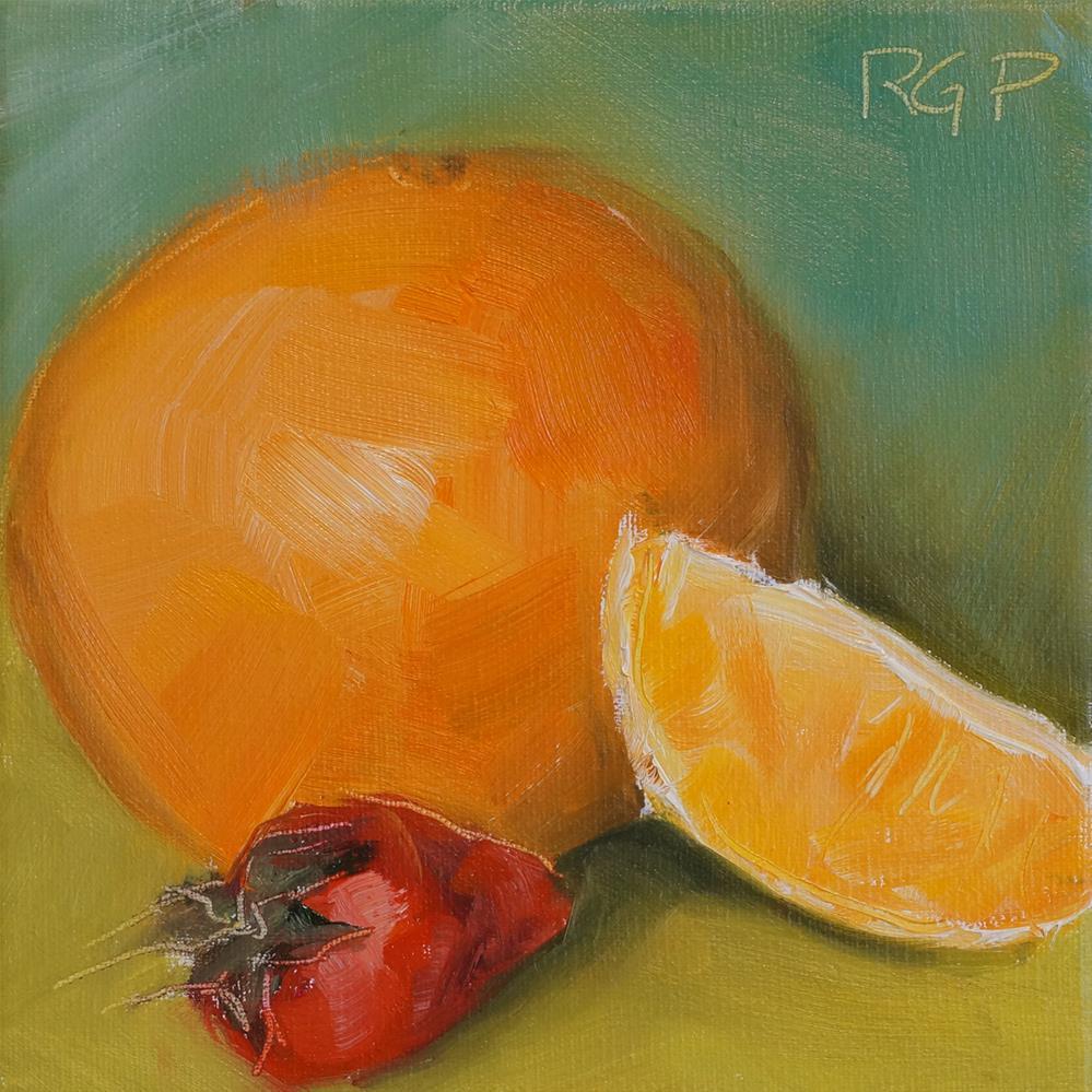 """""""Breakfast Orange and Strawberry"""" original fine art by Rhea  Groepper Pettit"""