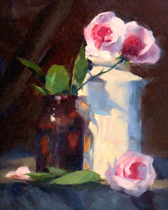 """""""Pretty in Pink, 8x10 Oil on Canvas Still Life with Roses"""" original fine art by Carmen Beecher"""
