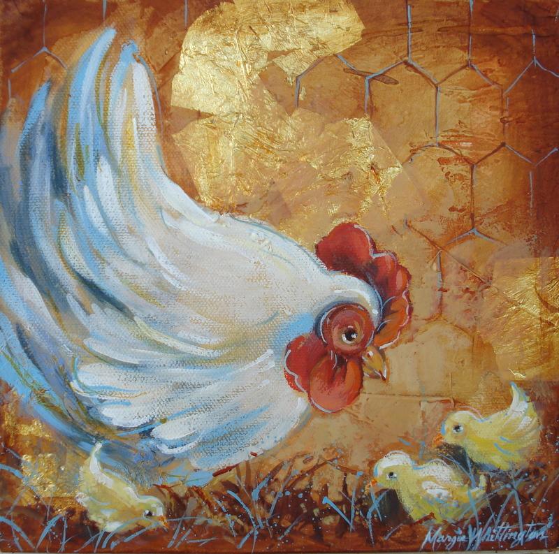 """Hen and Chicks"" original fine art by Margie Whittington"
