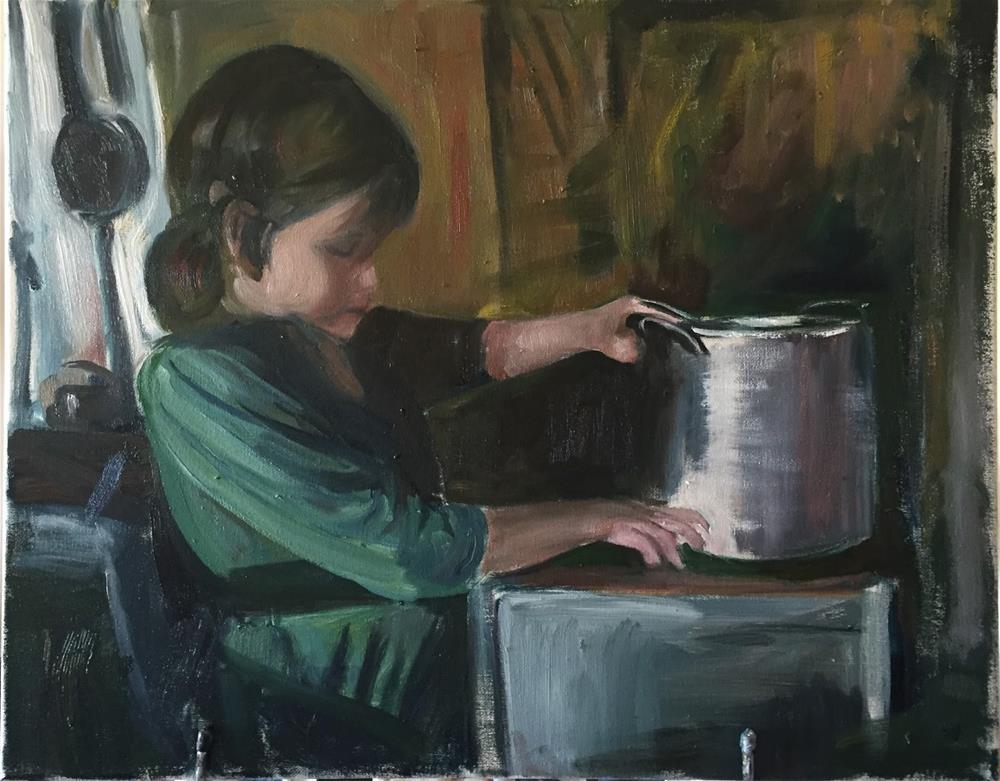 """Little Girl Cook"" original fine art by Rick Blankenship"