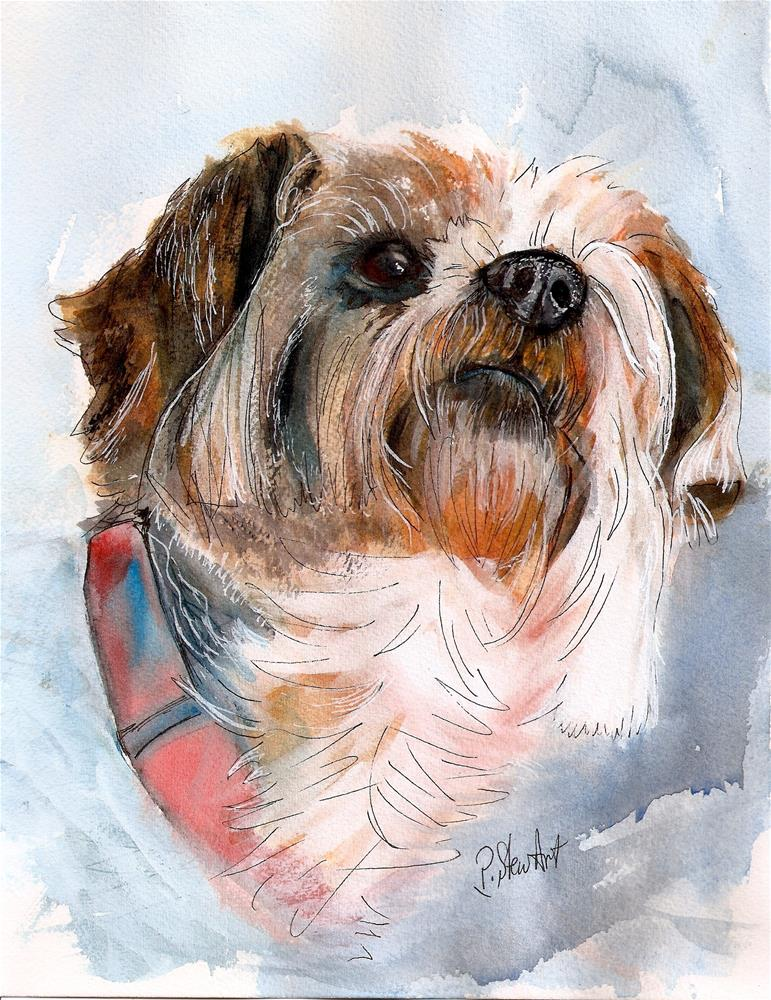 """Yorkshire Terrier Dog Pet Portrait Watercolor Painting 8.5 x 11 Penny StewArt"" original fine art by Penny Lee StewArt"