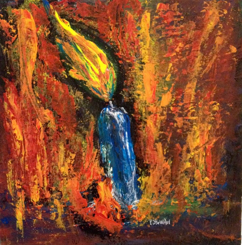 """""""12x12 Candle Fire Abstract Flames Colorful Original SFA by Penny StewArt"""" original fine art by Penny Lee StewArt"""