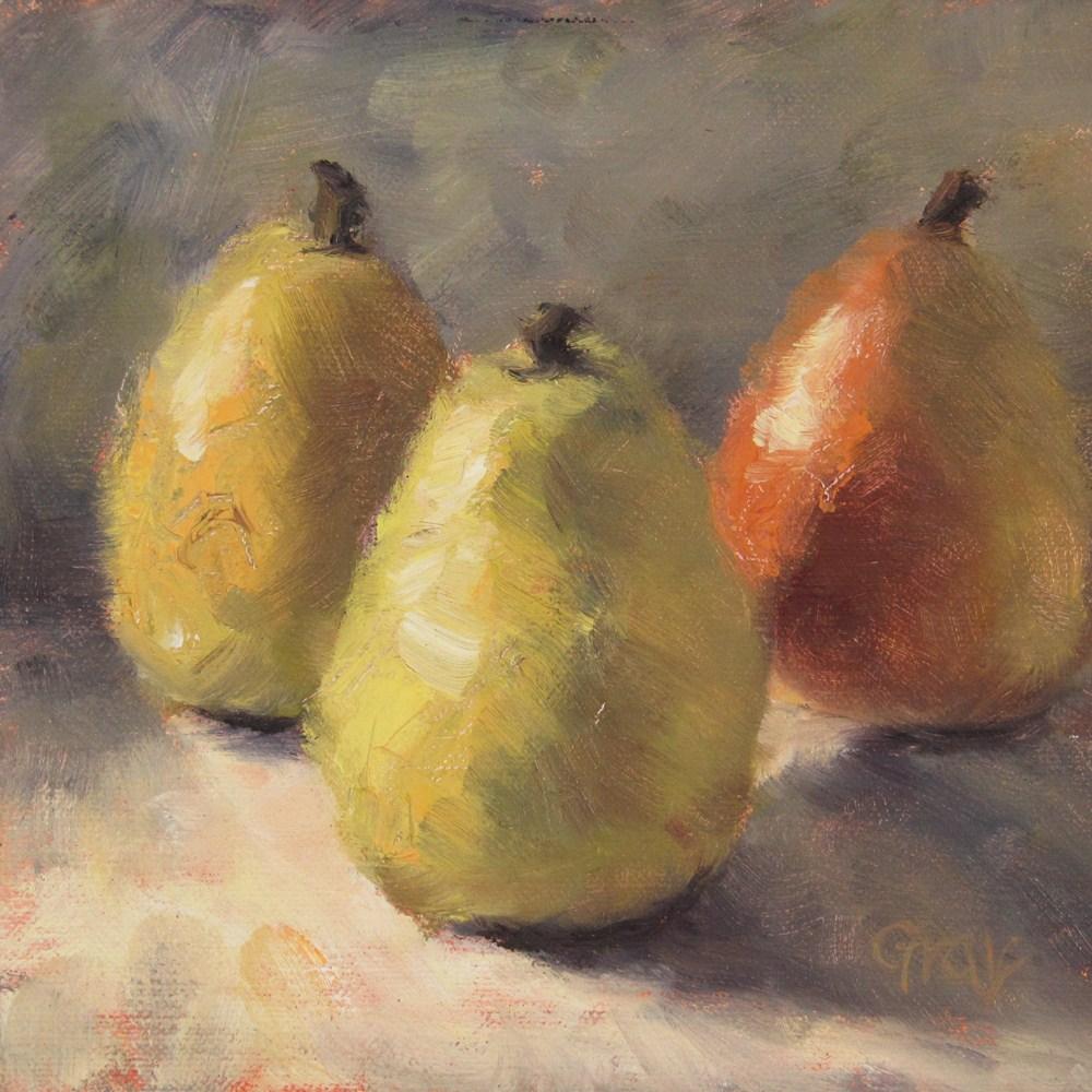"""Pear Triplet"" original fine art by Naomi Gray"