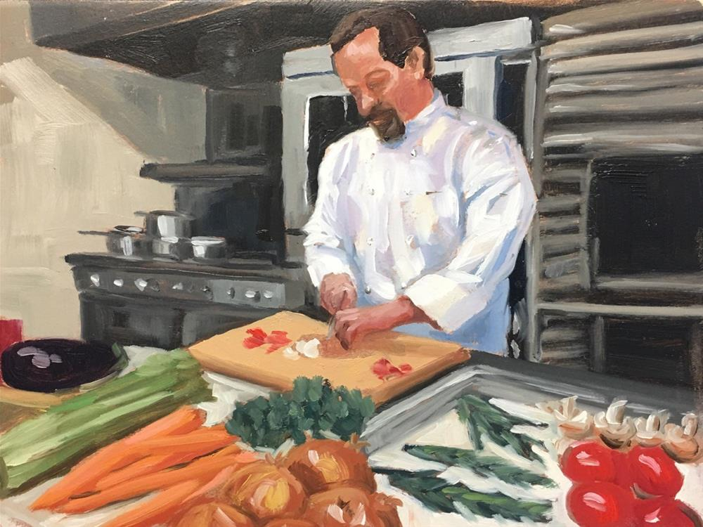 """Soup Prep with Chef Dean"" original fine art by Linda Marino"