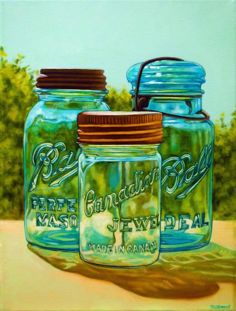 """Mason Jar Trio"" original fine art by Margaret Horvat"
