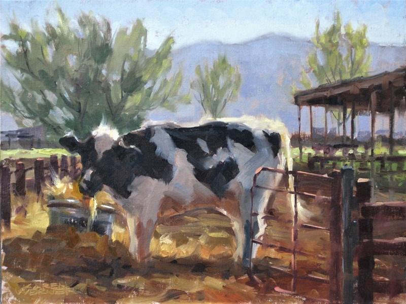 """""""A Cow Named Mocha"""" original fine art by Karen Werner"""