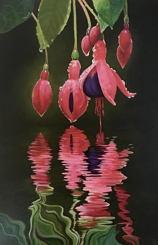 """Fuschia Reflections"" original fine art by Elizabeth Elgin"