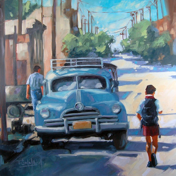 """No 477 Off to School"" original fine art by Robin J Mitchell"