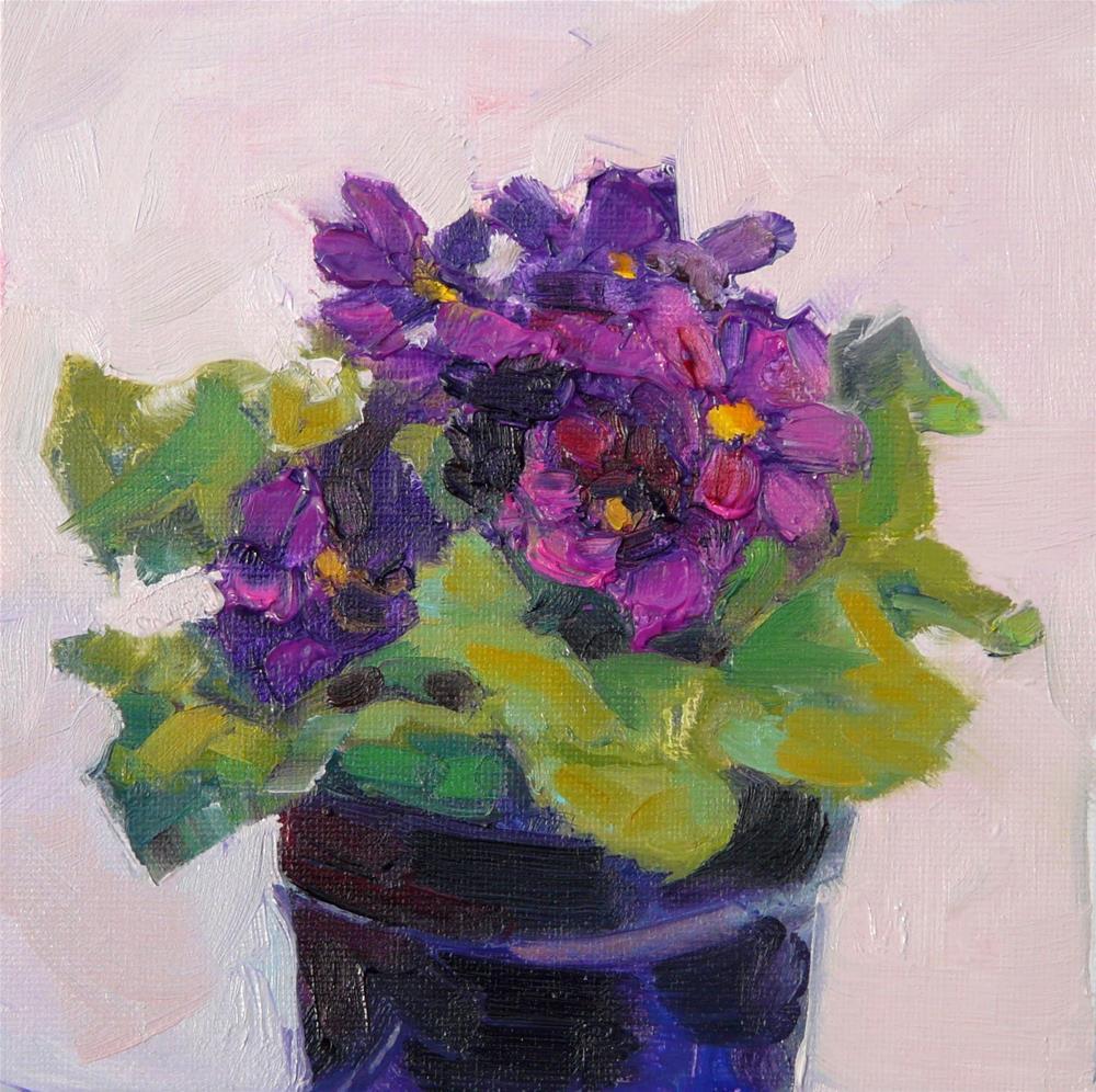 """Purple Primrose,still life,oil on canvas,6x6,priceNFS"" original fine art by Joy Olney"