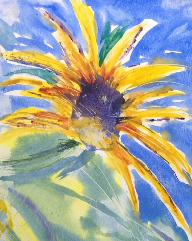 """Sunflower Tower"" original fine art by Maria Peagler"