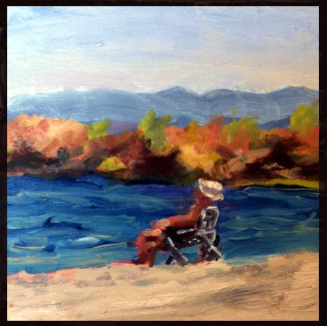 """""""Dude on the Beach"""" original fine art by Kristen Dukat"""