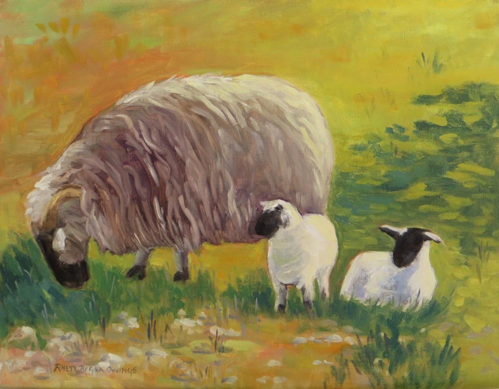 """""""Ewe with Lambs"""" original fine art by Rhett Regina Owings"""
