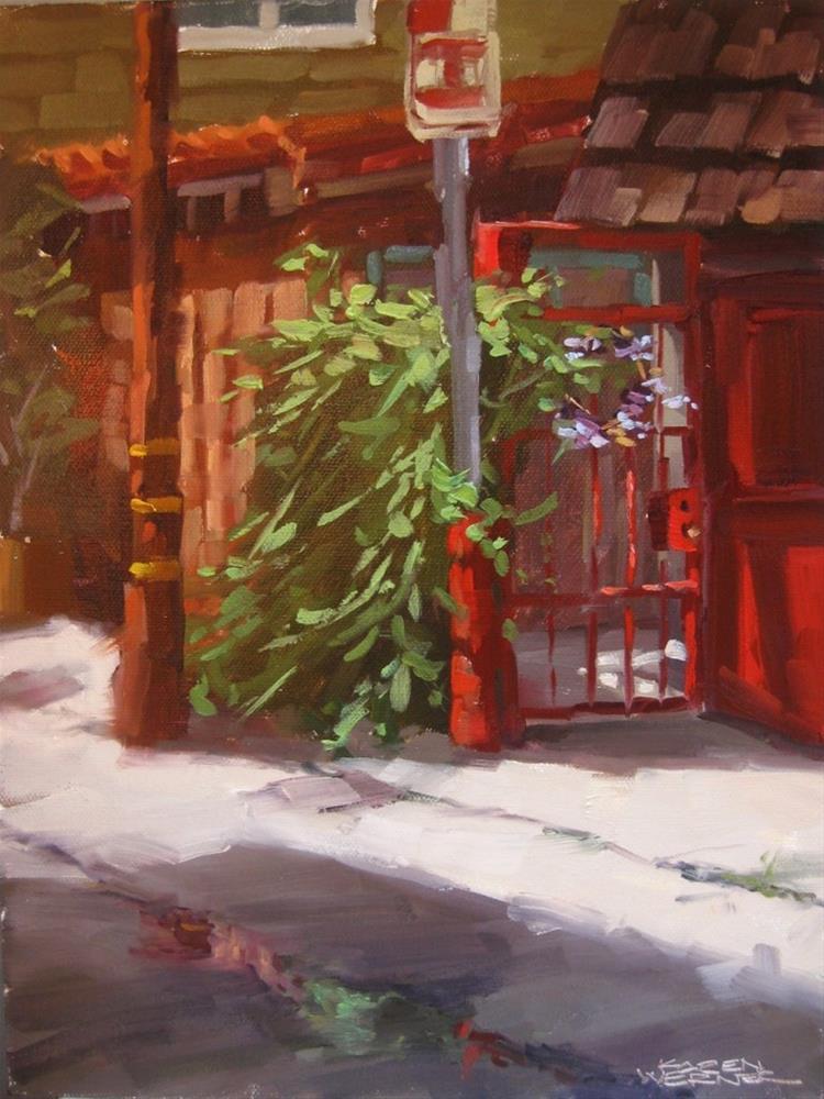 """""""Red Gate"""" original fine art by Karen Werner"""