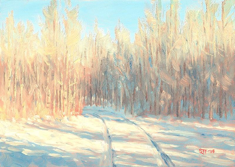"""""""C1580 Winter Aspens"""" original fine art by Steven Thor Johanneson"""