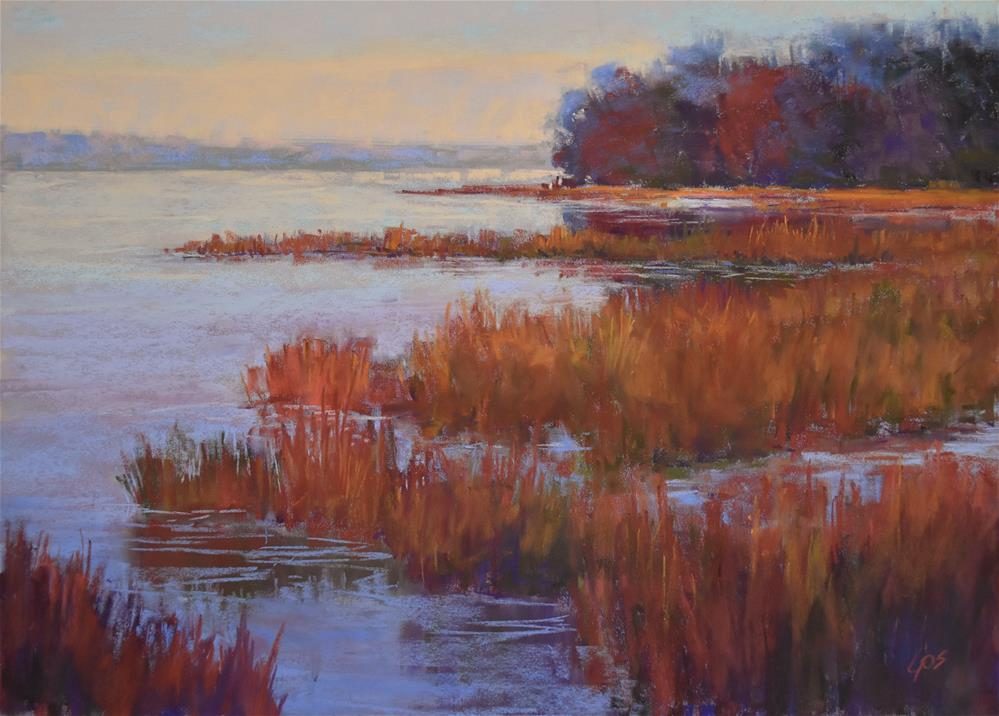 """Autumn marsh"" original fine art by Alejandra Gos"