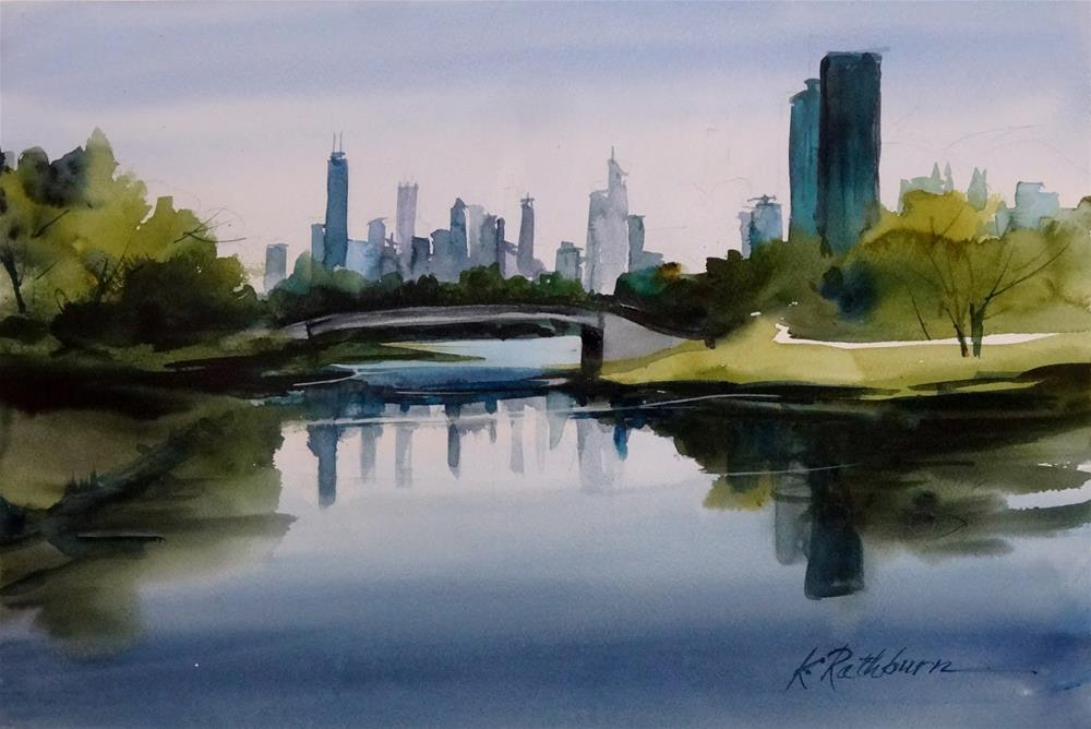 """Lincoln Park Lagoon- Chicago"" original fine art by Kathy Los-Rathburn"