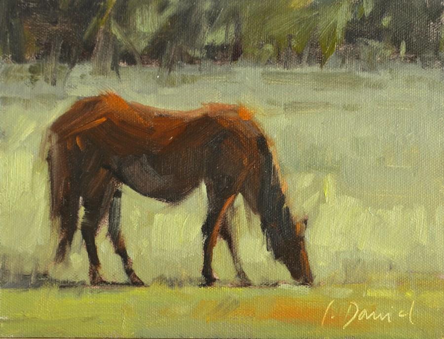 """Grazing - Wild horses on the Georgia Coast"" original fine art by Laurel Daniel"
