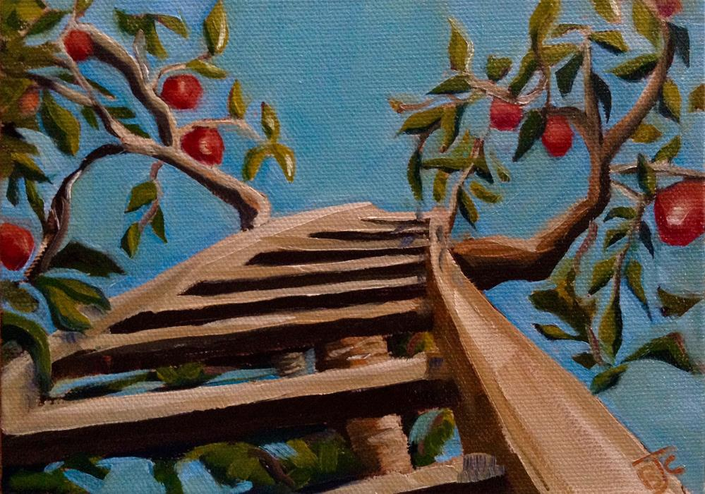 """Apple Picking"" original fine art by Bobbie Cook"