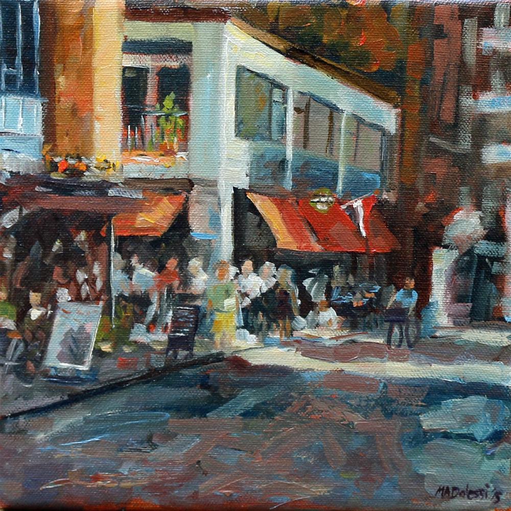"""Sun and drinks in Rotterdam"" original fine art by Miranda Dalessi"