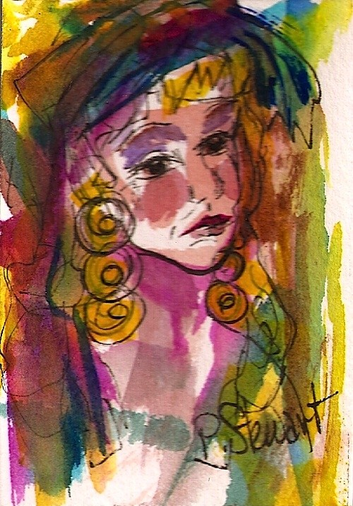 """ACEO Gypsy Woman Abstract Figurative Portrait of Woman's Face"" original fine art by Penny Lee StewArt"