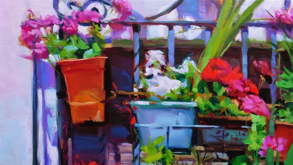 """Window of pots"" original fine art by Víctor Tristante"