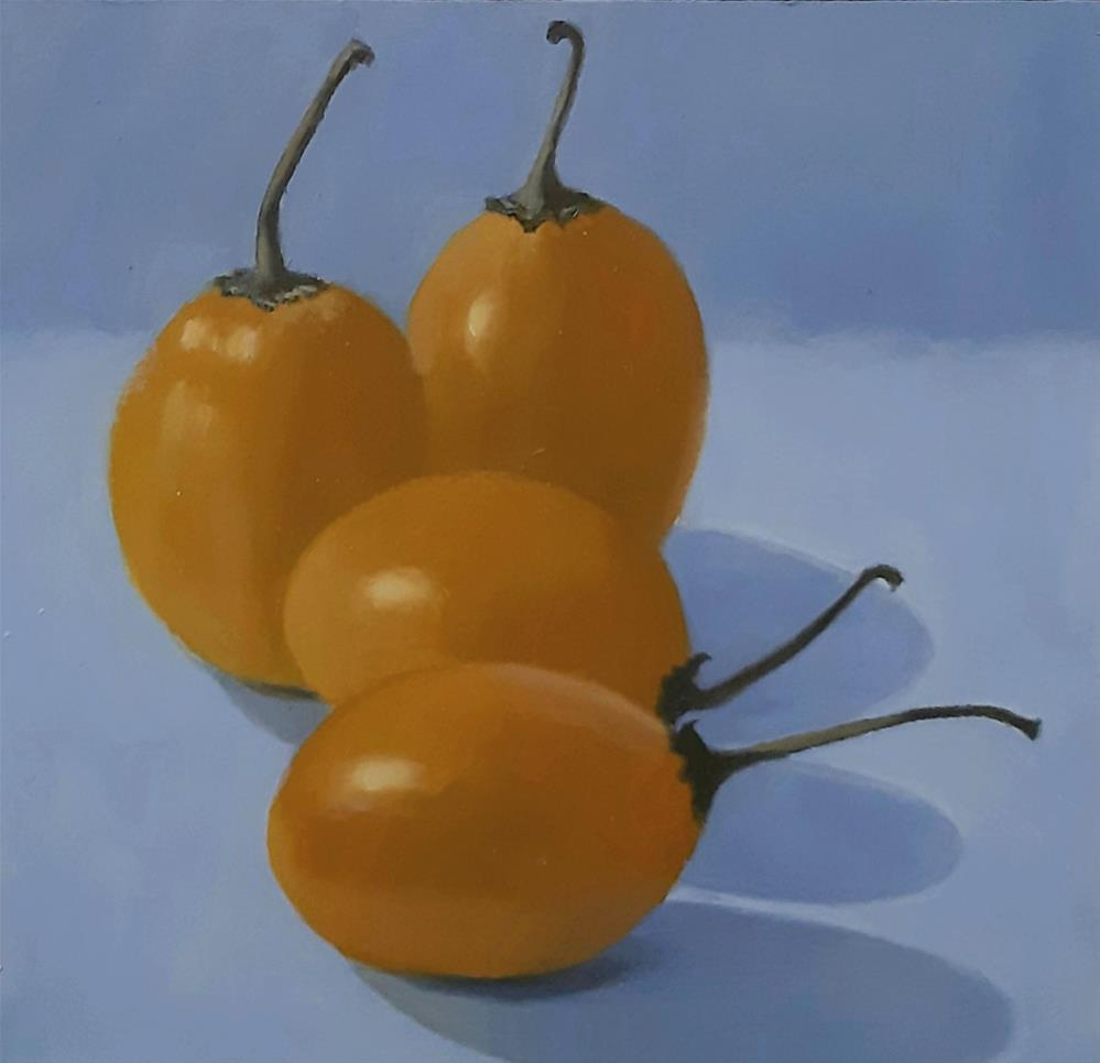 """Golden Tamarillos"" original fine art by Karen Johnston"