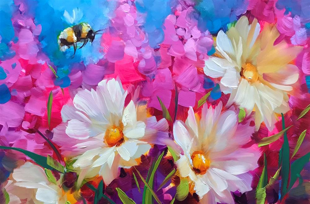 """Bee Joyful Daisies"" original fine art by Nancy Medina"