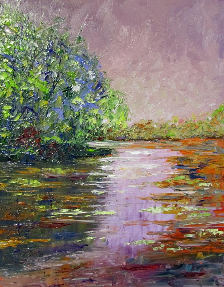 """8 x 10 inch oil Creekside #3"" original fine art by Linda Yurgensen"