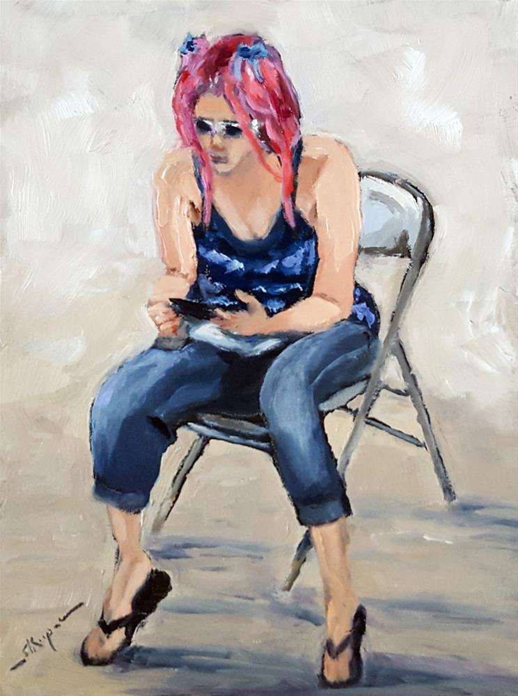 """Girl with the Pink Hair"" original fine art by Shelley Koopmann"