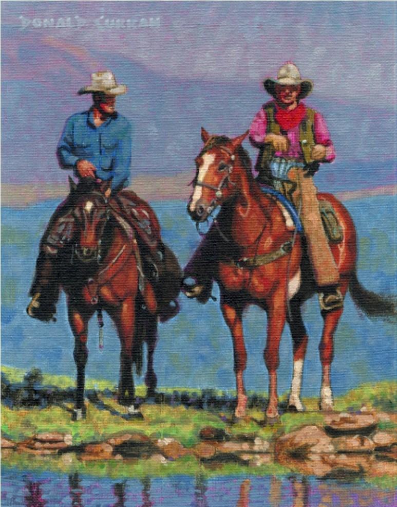 """Cowboys"" original fine art by Donald Curran"