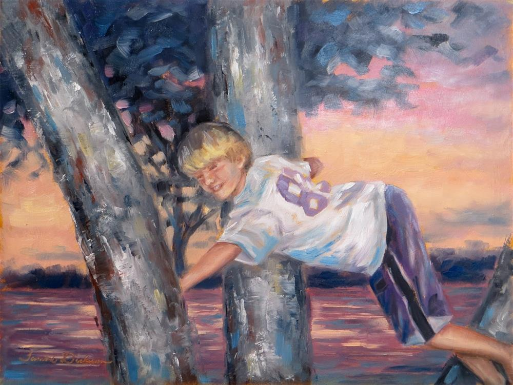 """""""Tree Climbing at Sunset"""" original fine art by Tammie Dickerson"""