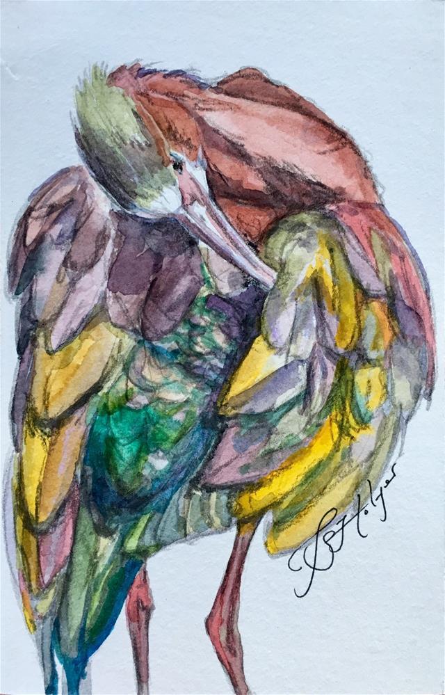 """White-faced Ibis"" original fine art by Jen Holyer"