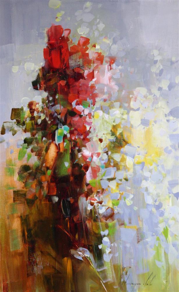 """FLOWERS ORIGINAL OIL PAINTING HANDMADE ART IMPRESSIONISM"" original fine art by V Y"