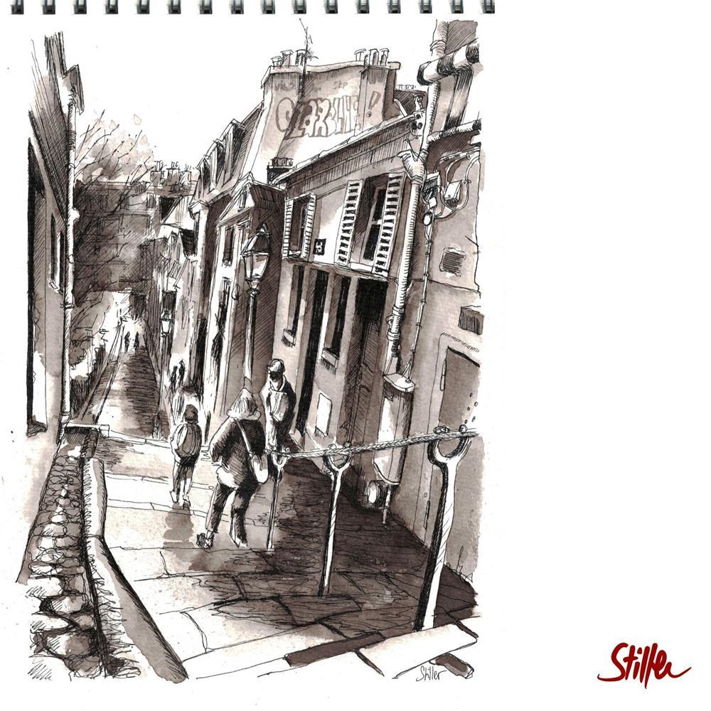 """3487 Montmartre IV"" original fine art by Dietmar Stiller"