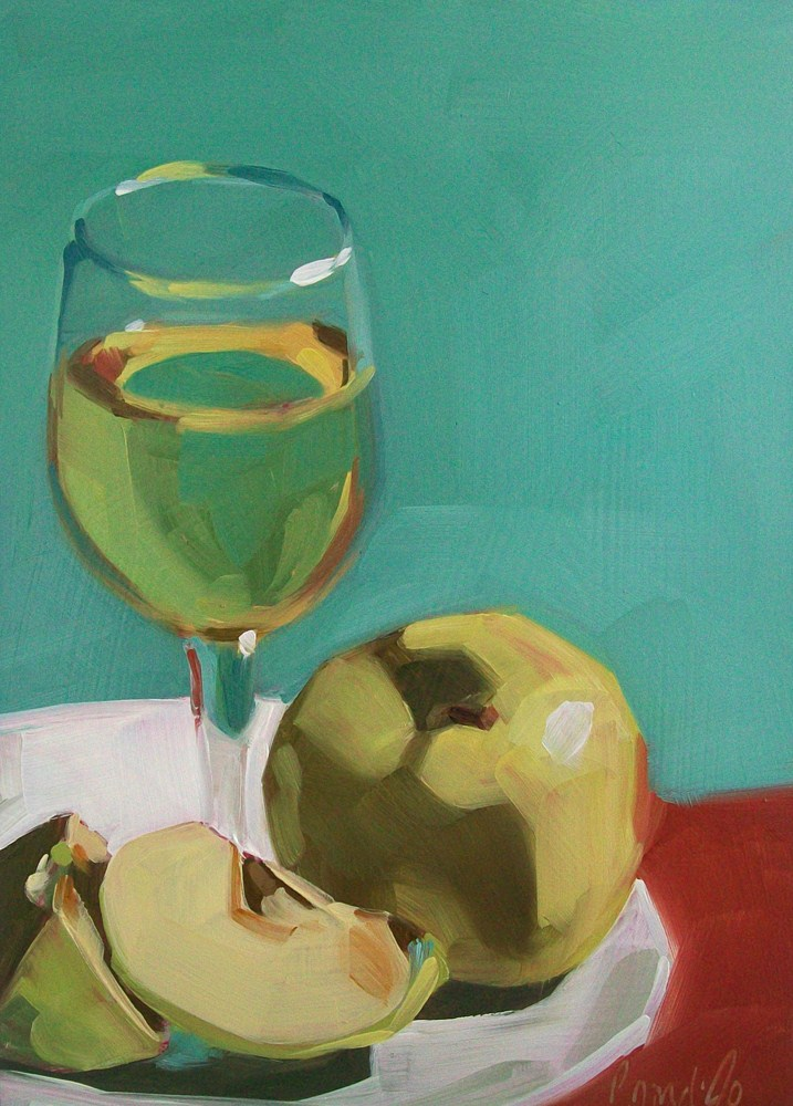 """green apples and wine"" original fine art by Brandi Bowman"