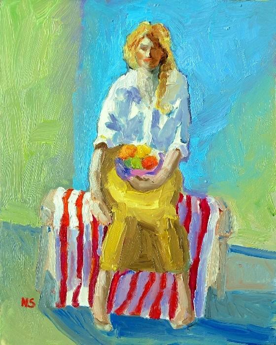 """""""Fruit Bowl 12024  (framed)"""" original fine art by Nancy Standlee"""