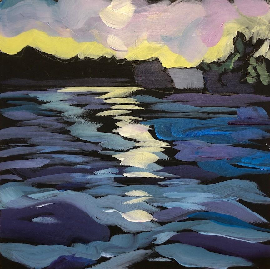 """""""Lake Pokegama Sunset"""" original fine art by Kat Corrigan"""