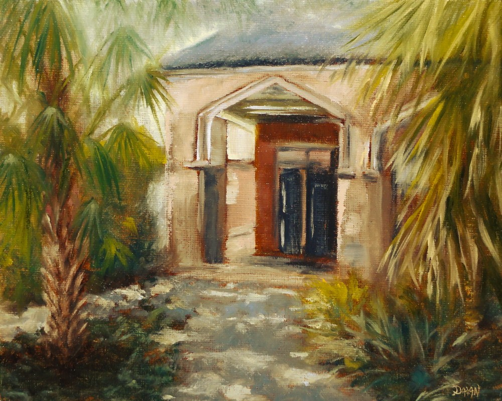 """Old New Orleans Arches With Fan Palms"" original fine art by Dalan Wells"