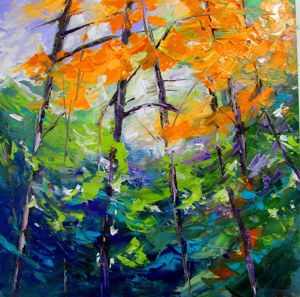 """12 x 12 inch oil Vibrant Forest"" original fine art by Linda Yurgensen"