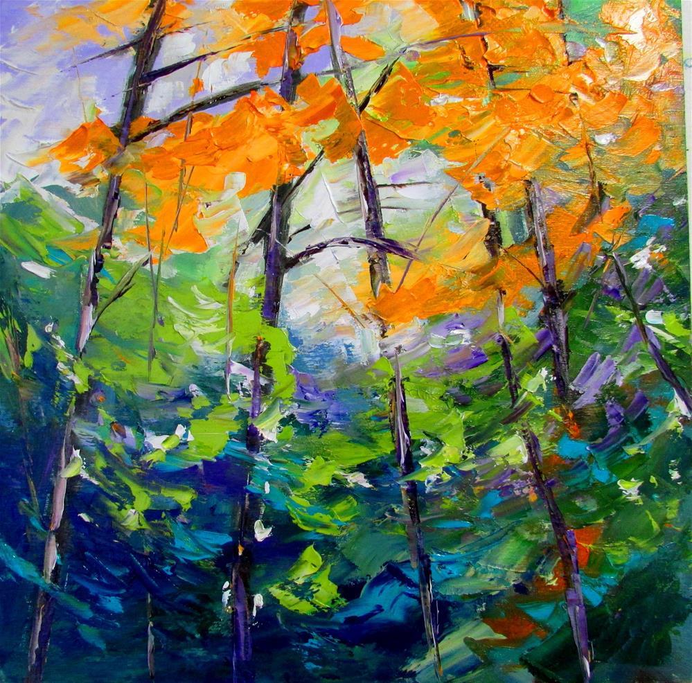 """12 x 12 inch oil Vibrant Forest"" original fine art by Linda Yurgensen"