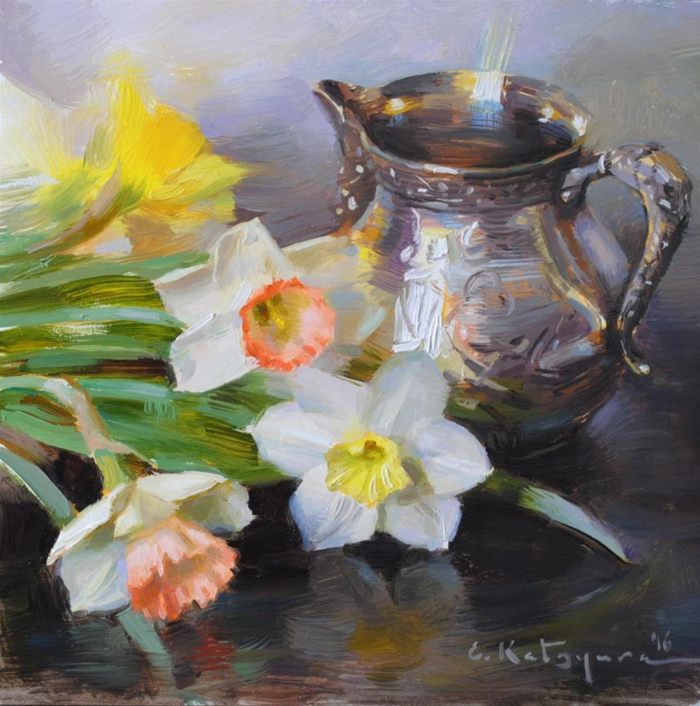 """Creamer and Daffodils"" original fine art by Elena Katsyura"