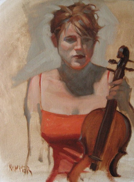 """Redhead Violinist 11x14 oil"" original fine art by Claudia Hammer"