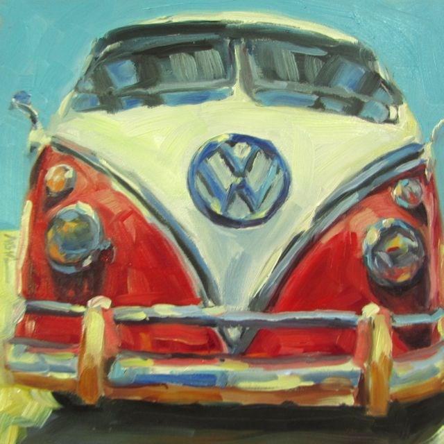 """RED VW"" original fine art by Mb Warner"